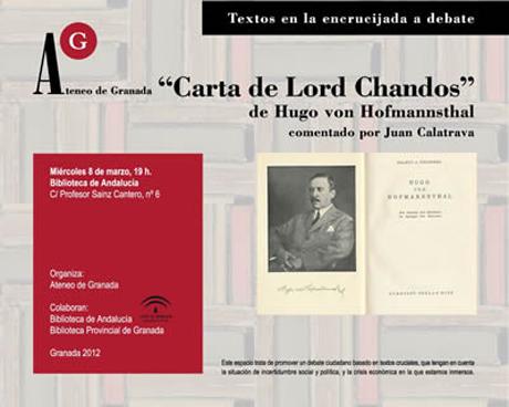 La carta de Lord Chandos de Hugo von Hofmannsthal, por Juan Calatrava