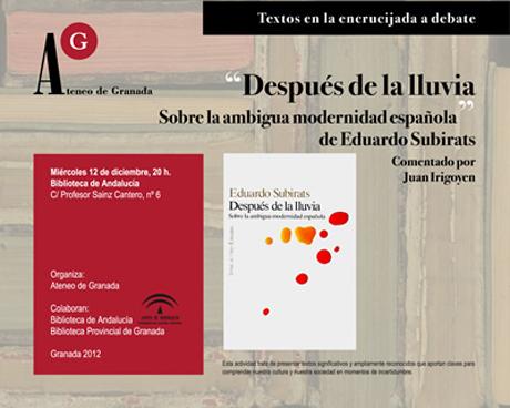 Después de la lluvia. Sobre la ambigua modernidad española, de Eduardo Subirats