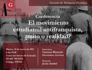 Conferencia El Ateneo | El movimiento estudiantil antifranquista, ¿mito o realidad?